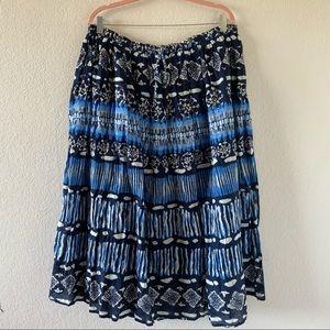 Jane Ashley Brigitte Tiered Cotton Midi Skirt